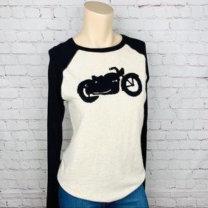 LUCKY BRAND Motorcycle Henley Sweater Sz S Retro